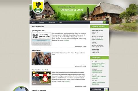 Screenshot webu obecnice.cz