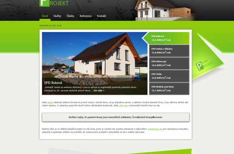 Screenshot webu www.pasiv-projekt.cz